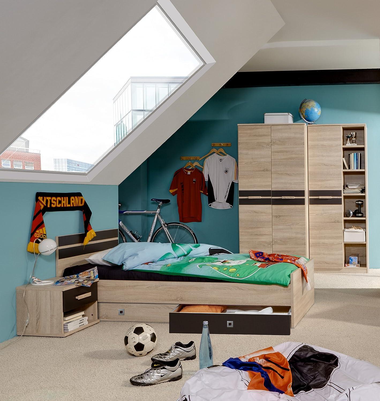 Jugendzimmer mit Bett 90 x 200 cm Eiche sägerau/ lavafarbig