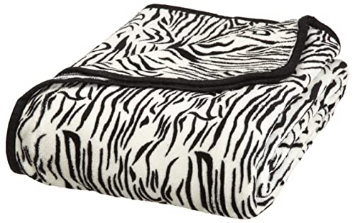 All Seasons Collection Micro Fleece Plush Animal Print F/Q Blanket, Zebra