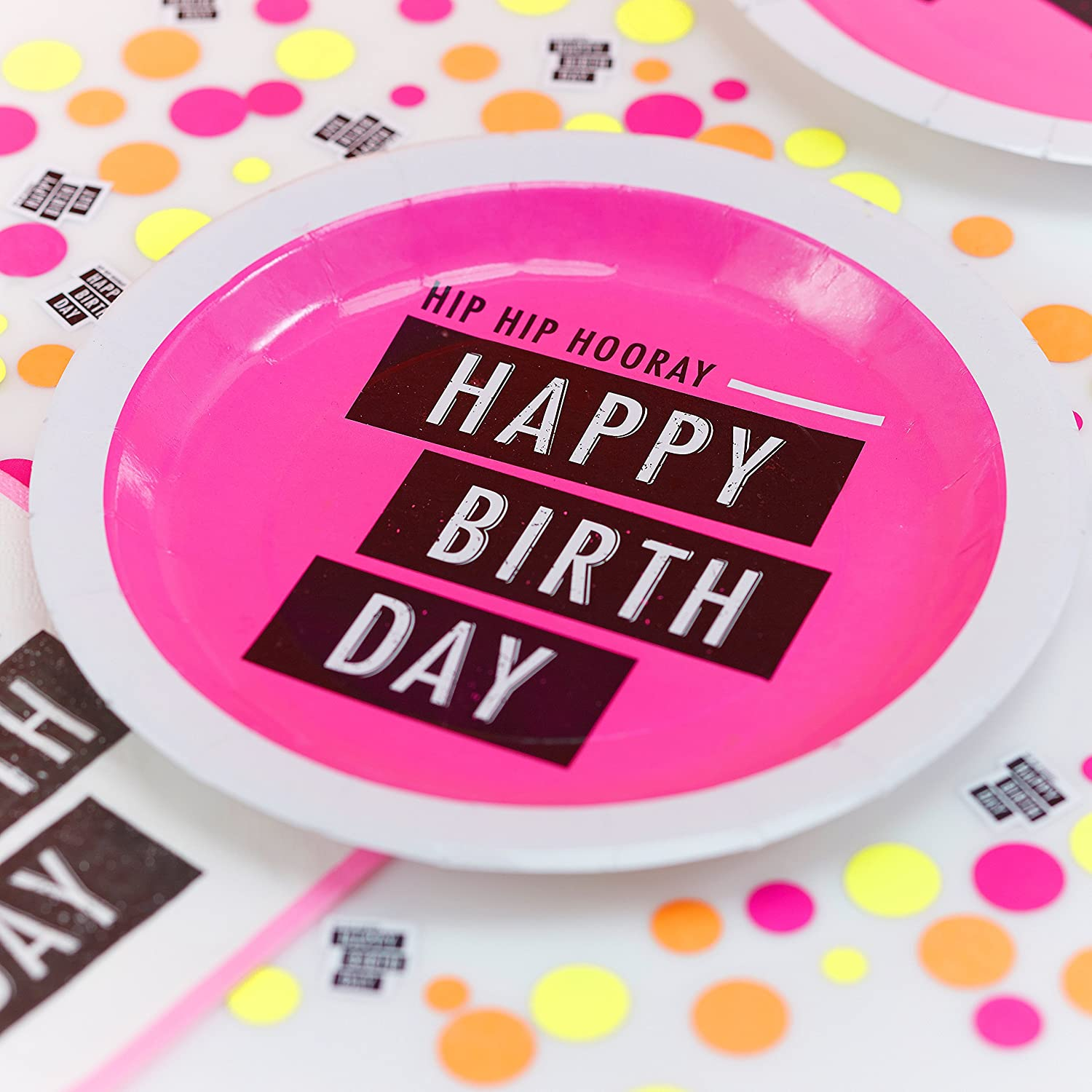 Neon Fluorescent Happy Birthday Paper Party Plates Pink 8 plates per pack 23cm in diameter. Neon pink paper plates. Other products available in the Neon ...  sc 1 st  Birthday Party Themes & Neon Birthday Party Collection by Ginger Ray | Birthday Wikii