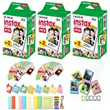 Fuji Instax Mini Instant Film 60 Shots with Bonus 40 Decorative Skin Stick-on Stickers for Fuji Instax Mini 8 and SP-1 (Color: multi colored, Tamaño: 60 Pack with Bonus 40)