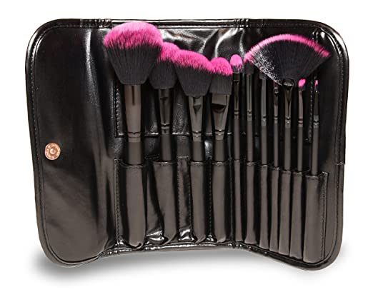 GG Beauty Premium Synthetic Makeup Brush Set 11 Piece - Cosmetics Set, Kit with Black Pouch (Pink)