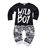 Baby Boys Clothes Set Wild Boy Long Sleeve T-Shirt Tops and Pants Outfits Winter Spring (Color: Black, Tamaño: 12 - 18 Months)