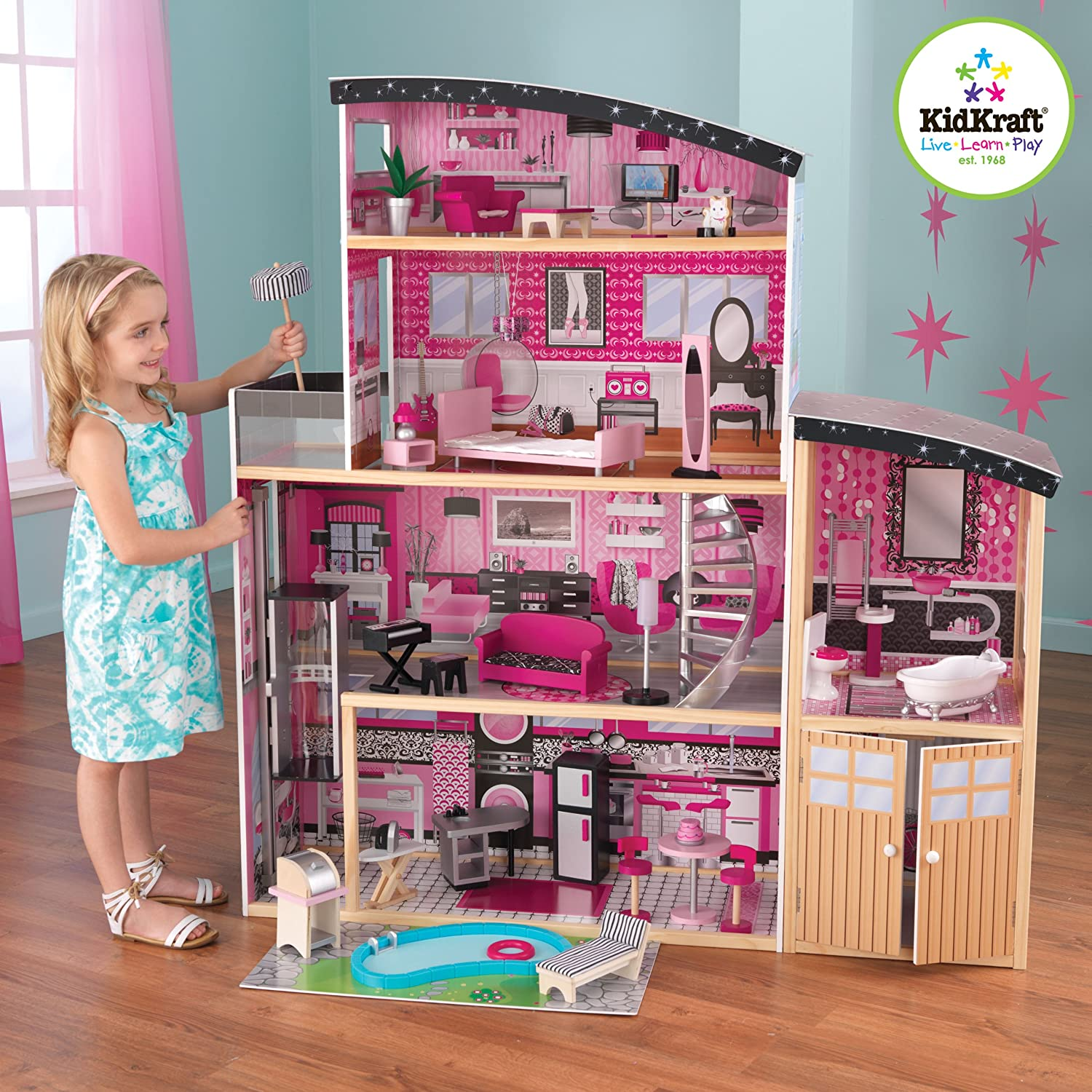 Barbie Doll House Girls Dollhouse Wooden Furniture Miniature Accessories Toys Ebay