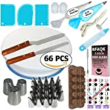 66pcs Cake Decorating Supplies Kit for Beginners-1 Turntable stand-24 Numbered Easy to use icing tips with pattern chart and E.Book-Straight and Angled Spatula-3 Russian Piping nozzles-3 Cake Scrapers