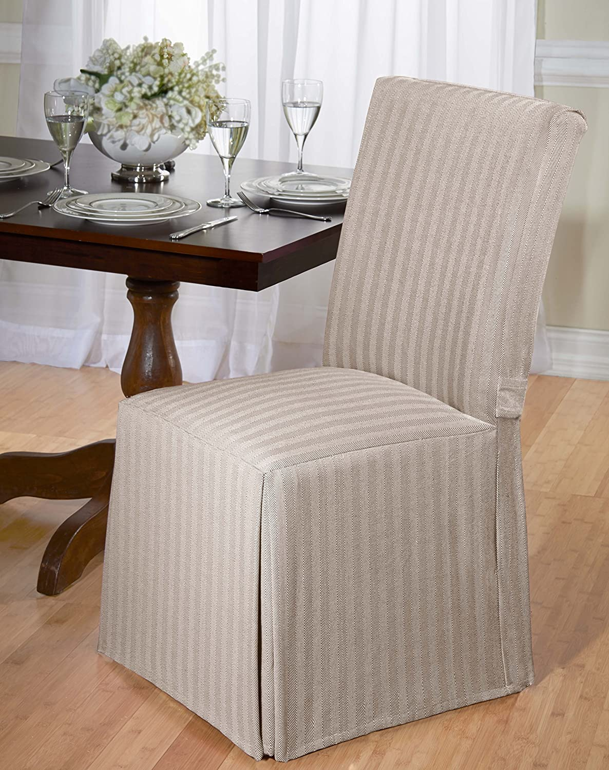 Luxurious Dining Chair Cover, Herringbone, Beige, Grey, and Red grey red beige blue embroidery logo car seat cover front