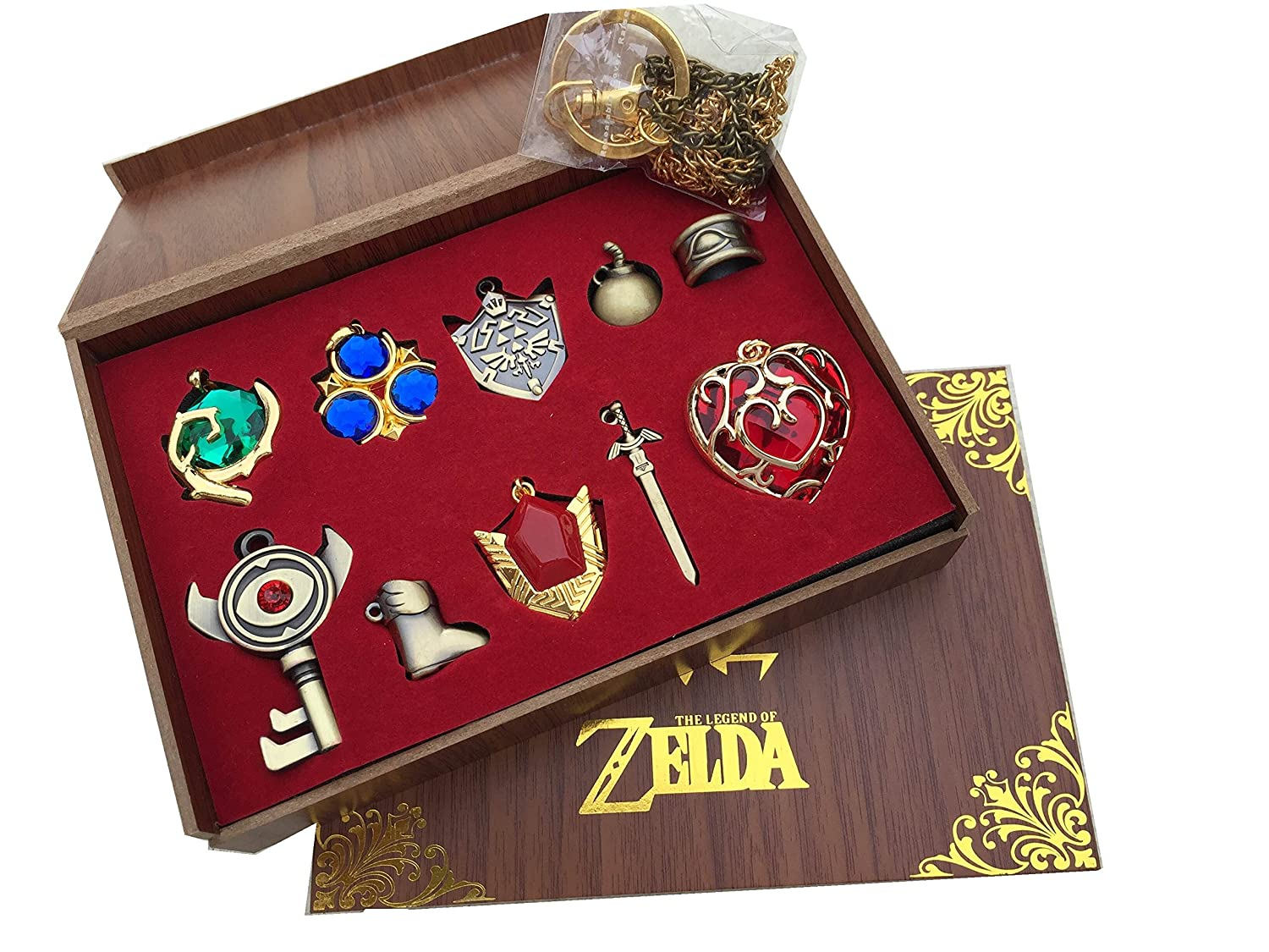 Фото The Legend of Zelda Twilight Princess & Hylian Shield & Master Sword finest collection sets keychain / necklace / jewelry series