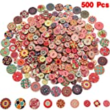 500 Pieces Flower Wood Buttons 2 Holes Round Buttons Vintage Sewing Buttons for Sewing DIY Craft Decorations