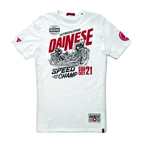 Dainese 1896351_003_M Speed Champ T-Shirt, Blanc, Taille : 38