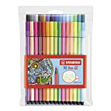 Stabilo Pen 68 Coloring Felt-tip Marker Pen, 1 mm - 30-Color Wallet Set (Color: Intense Colors, Tamaño: 30-Color Wallet Set)