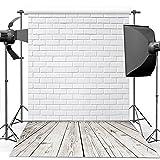 Dudaacvt 10x10ft Vinyl Photography Background White Brick Wall Wood Floor Theme Backdrops Photo Studio Backdrop Props MQ0061010 (Color: white brick, Tamaño: 10x10ft)