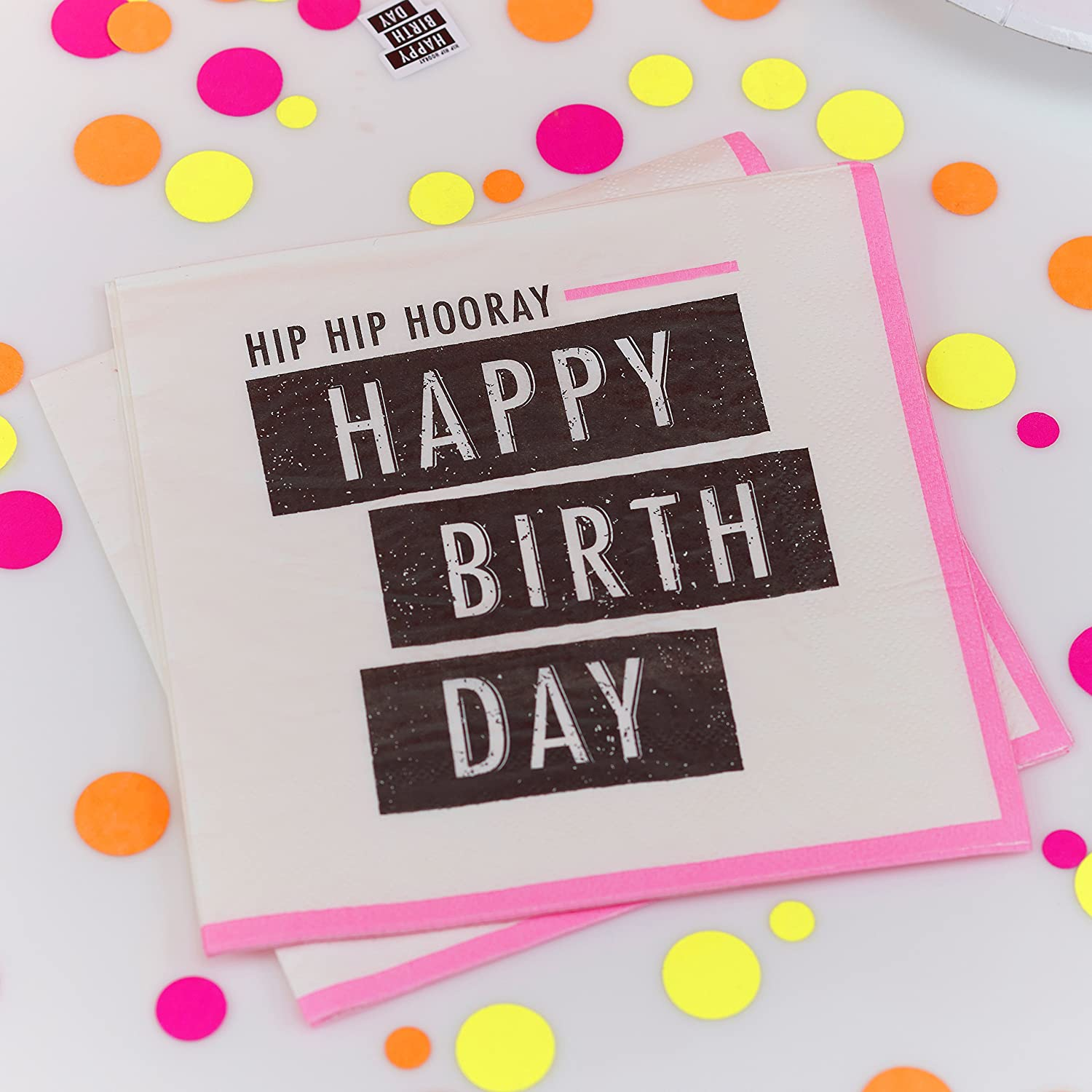 Neon Fluorescent Happy Birthday Paper Party Napkins Pink 20 paper napkins per pack! bold and bright neon print napkins saying \u0027Hip Hip Hooray Happy ...  sc 1 st  Birthday Party Themes & Neon Birthday Party Collection by Ginger Ray | Birthday Wikii