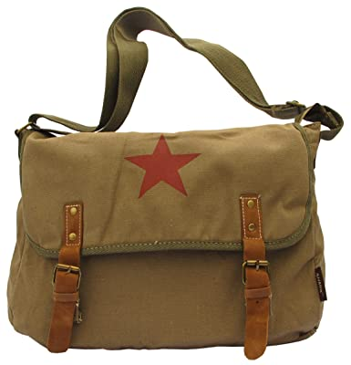 Brown Classic Army Messenger Heavy Weight Shoulder Bag 11