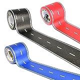 PlayTape Asphalt Road 3-Pack Bundle – 30' Black Roll, 30' Red Roll, 30' Blue Roll