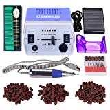 30000RPM Pro Electric Nail Drill Manicure Pedicure Acrylics Gel Salon Art Tool Set Kit with Sanding Band Accessories (Grace Purple)