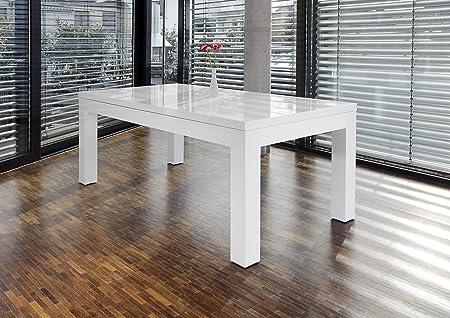 SalesFever Luke extendable white high gloss dining table 180x90 cm