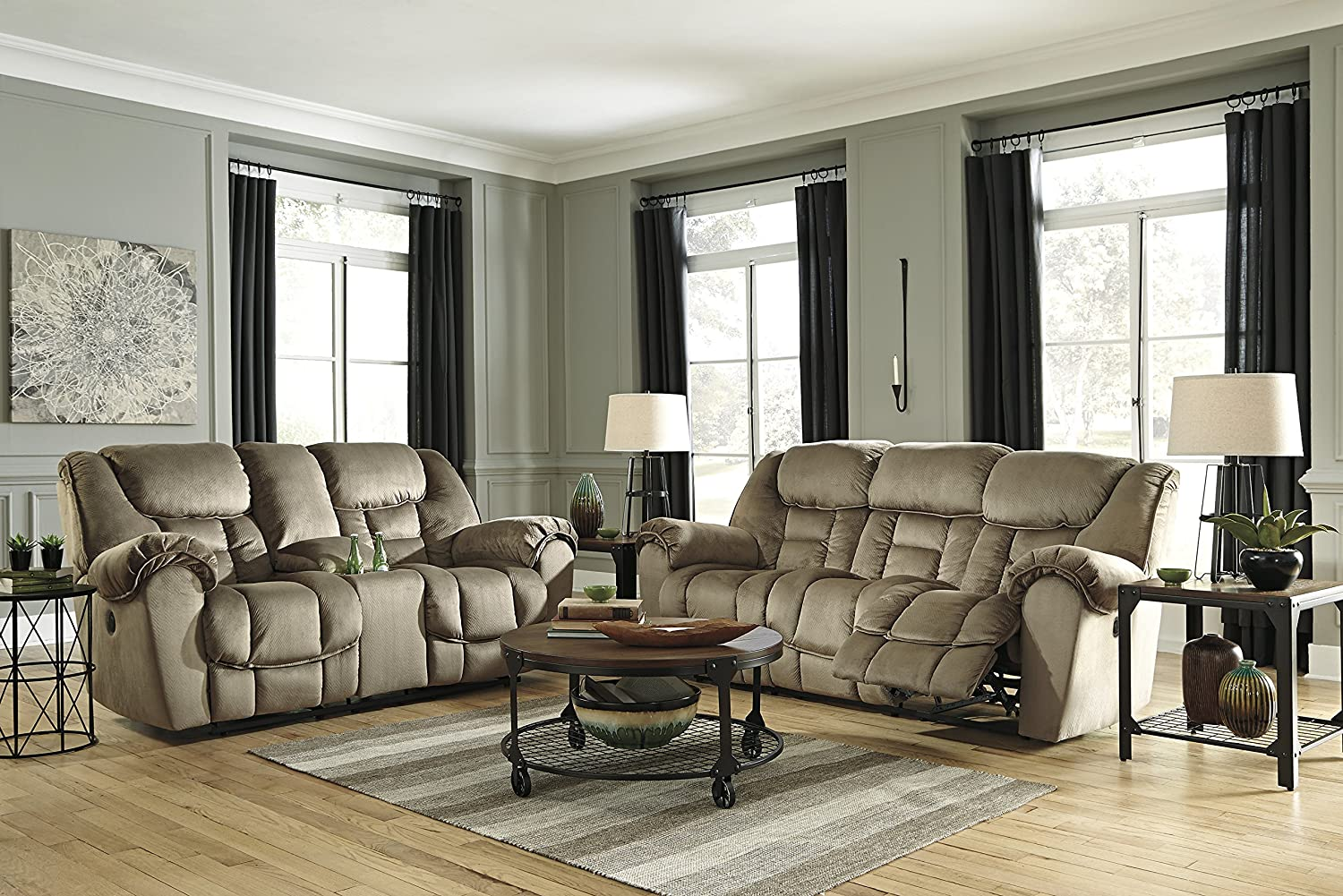 Jodoca Contemporary Driftwood Microfiber Reclining Power Sofa And Loveseat w/Consol