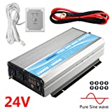 Giandel 2000W Pure Sine Wave Power Inverter DC 24V to AC120V with Dual AC Outlets with Remote Control 2.4A USB and LED Display (Color: silver, Tamaño: 2000W/24V)