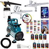 3 Master Airbrush Professional Acrylic Paint Airbrushing System Kit with Powerful Cool Running Air Compressor - 6 U.S. Art Supply Primary Opaque Paint Colors Set - Gravity and Siphon Feed Airbrushes (Color: Assorted, Tamaño: Standard Compressor)