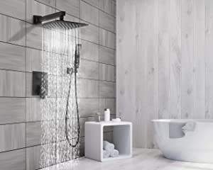 EMBATHER Black Shower System 12 Inch Mount Shower Faucet Set with Square Rain Shower Head and Handheld,Matte Black Combo Set for Bathroom(Rough-in Valve Body and Trim included) (Color: Balck Shower System, Tamaño: 12 Inch)