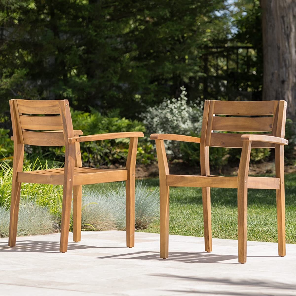 Stanyan Outdoor Teak Finish Acacia Wood 5 Piece Dining Set