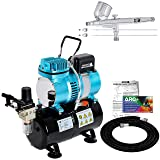 Master Airbrush Cool Runner II Dual Fan Air Storage Tank Compressor System Kit with G233 Gravity Feed Dual-Action Airbrush Pro Set, 0.2 0.3 0.5 mm Tips - Hose, Holder, How-To Guide - Hobby, Auto, Cake