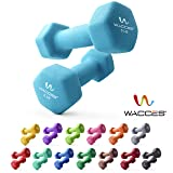 Wacces Neoprene Dipped Coated Set of 2 Dumbbells Hand Weights Sets Non Slip Grip 2 x 5 LB (Color: 5 LB ( Light Blue ))