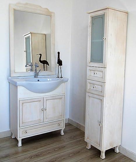 Arredo bagno 75 cm con lavabo in ceramica + colonna avorio decape anticato