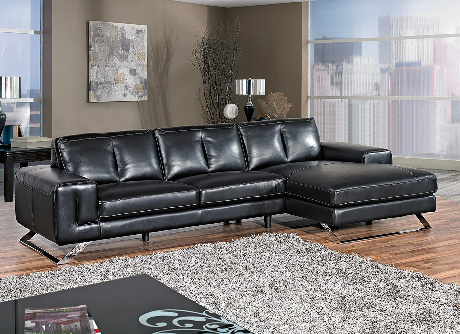 Cortesi Home Contemporary Manhattan Genuine Leather Sectional Sofa with Right Chaise Lounge - Black