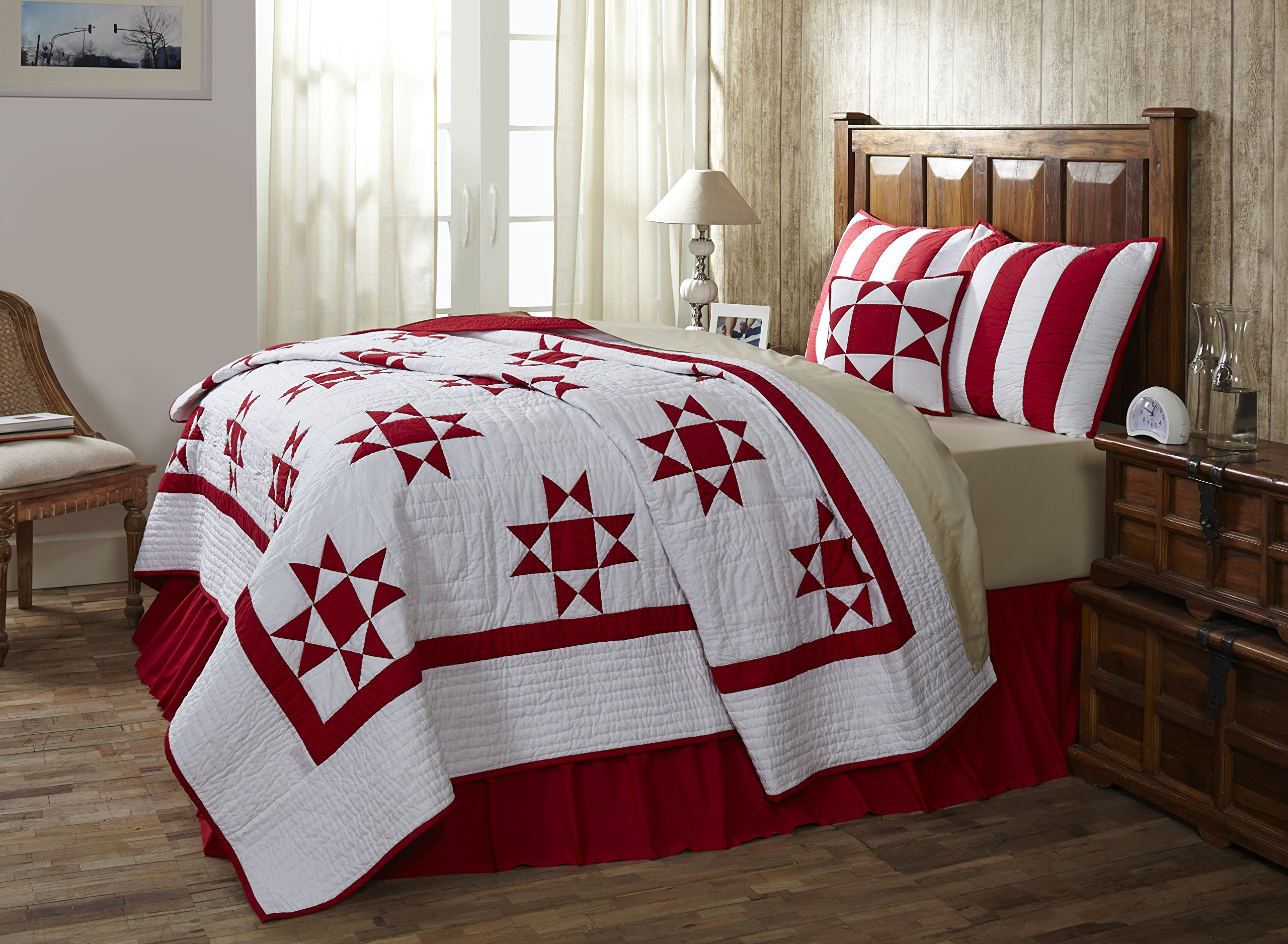queen size quilt chili pepper red and white bedding cotton 94 x 94 ebay. Black Bedroom Furniture Sets. Home Design Ideas
