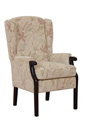 Rome High Back Chair Queen Anne Style Fireside Chair - Beige with Floral Fabric
