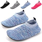 Kids Lightweight House Walking Sneakers Barefoot Running Tennis Shoes Thick Sole For Yoga Living Room Play Room (Color: #5 Knitted-blue&purple, Tamaño: 11.5-12 M US Little Kid)