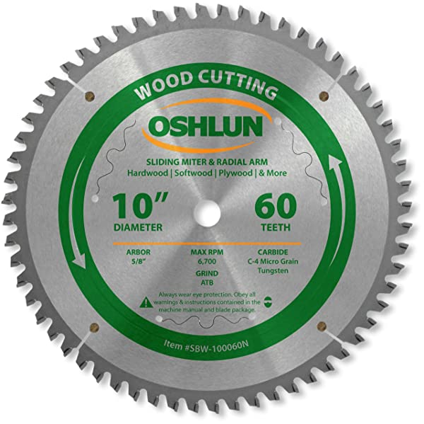 Oshlun SBW-100060N 10-Inch 60 Tooth Negative Hook Finishing ATB Saw Blade with 5/8-Inch Arbor for Sliding Miter and Radial Arm Saws (Tamaño: 60 Tooth Neg Sliding Miter)