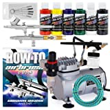 PointZero Multi-Purpose 3 Airbrush Kit w/Compressor and Createx Colors Set of 6 Paints
