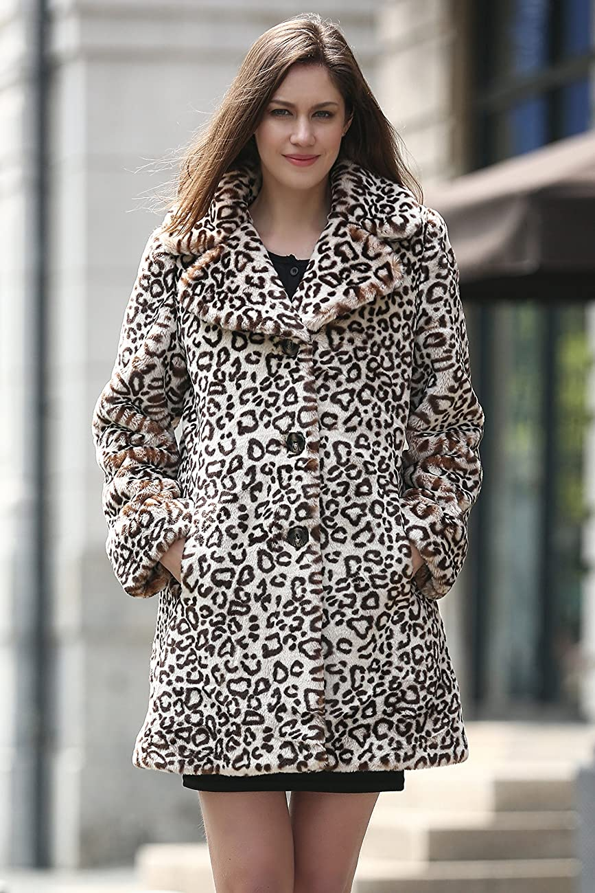 Adelaqueen Women's Elegant Vintage Leopard Print Lapel Faux Fur Coat Mid-Length 1