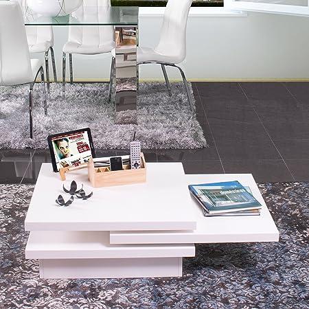 Homely - Mesa de centro giratoria KIKUYU de 106x70 (Blanco)