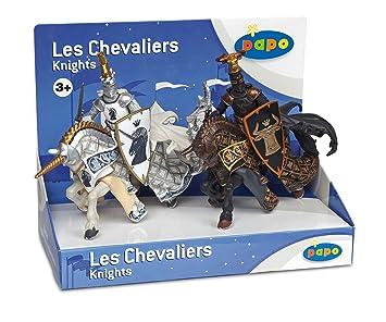 Papo - 39750 - Figurine Chevaliers Et Châteaux - Boite Présentoir - Maitres Des Armes - Cimier Taureau Et Licorne