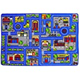Mybecca Kids Rug Town Map 8' X 11' Childrens Area - Street Map Non Skid Backing (7'10