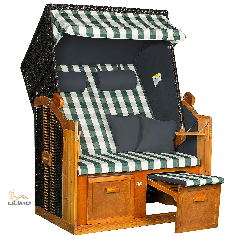 Strandkorb BALTIC-R GNB, anthrazit, grün-weiß karierter Bezug, fertig montiert, LILIMO ® online bestellen