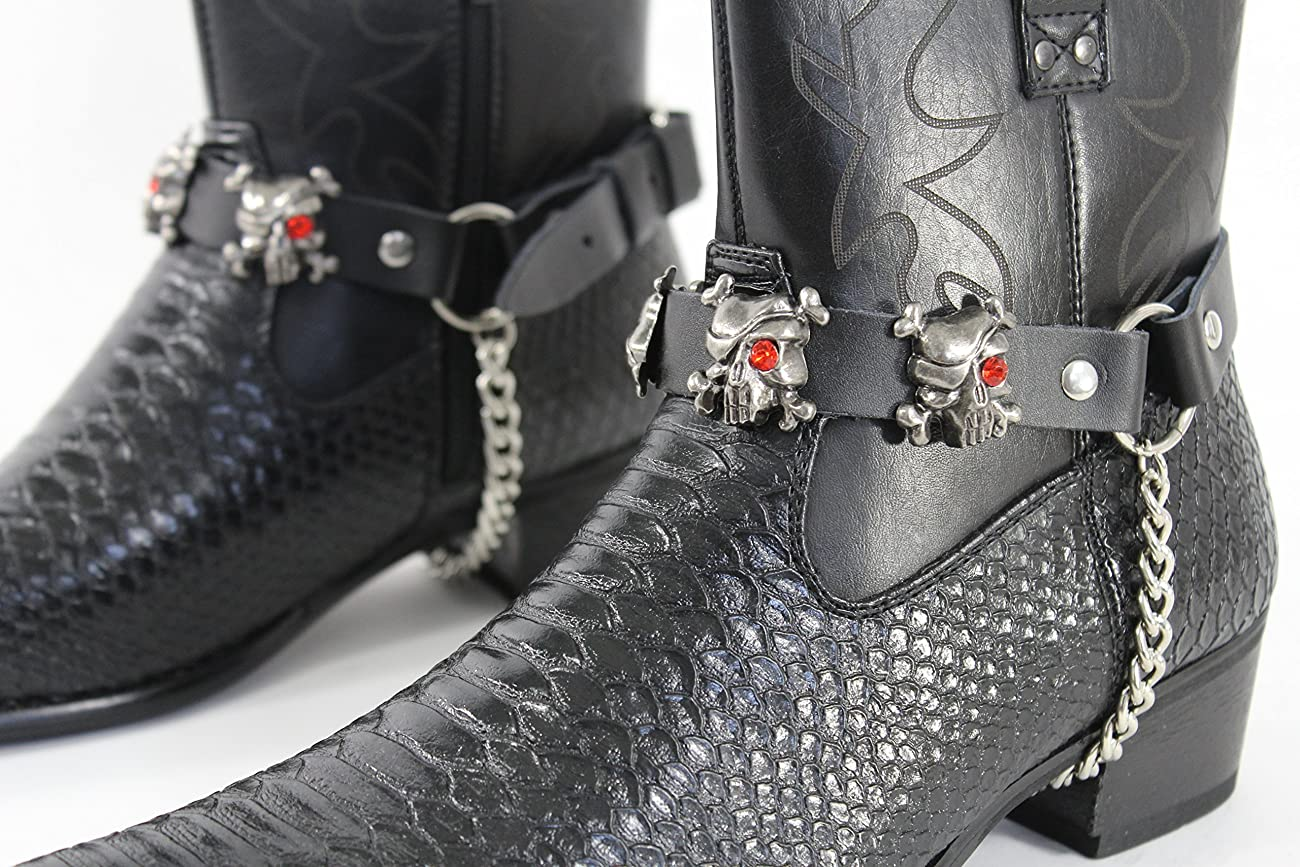 TFJ Men Biker Boot Bracelets Black Leather Straps Silver Skeleton Pirates Skulls Motorcycle Style 2