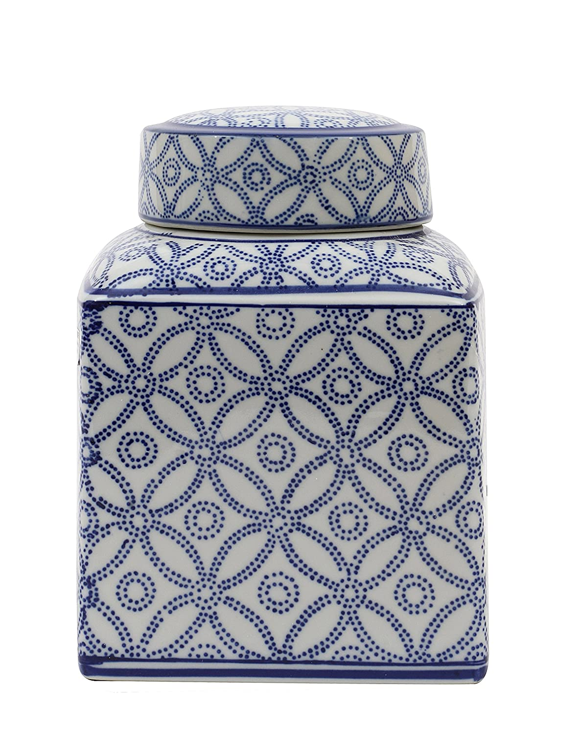 Small Square Blue and White Ceramic Ginger Jar with Lid