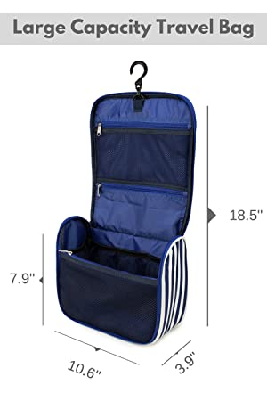 7Senses Hanging Toiletry Bag - Large Capacity Travel Bag for Women and Men - Toiletry Kit, Cosmetic Bag, Makeup Bag - Travel Accessories,Navy Blue (Color: Navy Blue, Tamaño: Large)