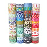 48 Rolls Washi Tape Set,Decorative Washi Masking Tape Set for DIY Crafts and Gift Wrapping (mix) (Color: Mix)