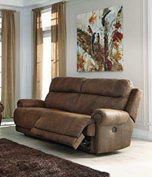 Austere Brown DBL Rec Loveseat w/Console