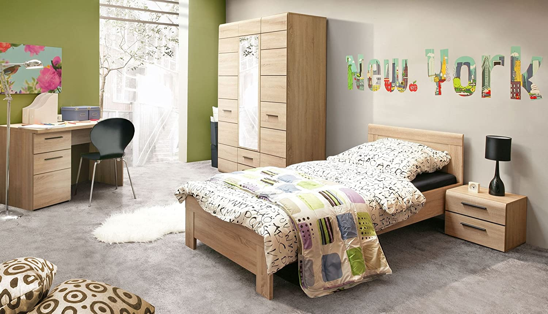 Jugendzimmerkombination mit Bett 90 x 200 cm Sonoma Eiche