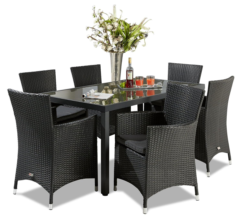Hochwertige Garten Tischgruppe Polyrattan mit rostfreiem Alugestell Gartenstuhl Sessel Rattan Stuhl Gartenstühle Gartenmöbel jetzt bestellen