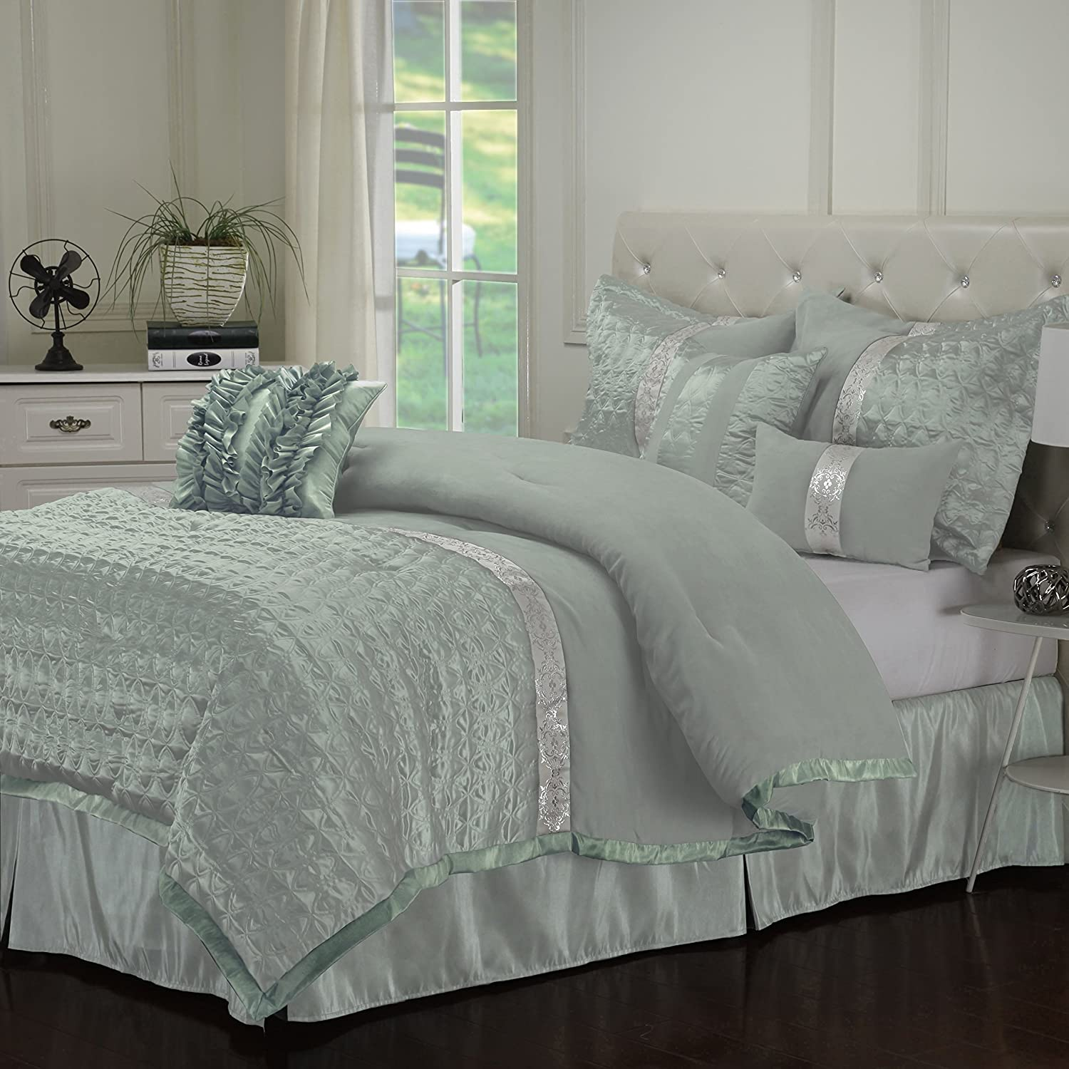 Dannica 7 Piece Silver Amp Teal Ruffled Comforter Bedding
