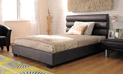4ft6 Double Modern Designer Chocolate Faux Leather Bed Frame with Leila Mattress