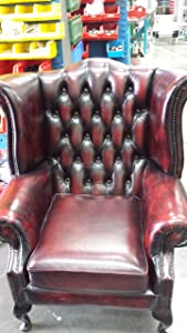 Chesterfield Antique Ox Blood Genuine Leather Queen Anne Armchair       reviews and more news