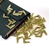 Cosmos ® 50 PCS Gold Metal Book Corner Protector for Scrapbooking Album Menu Folder