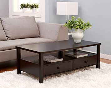 Furniture of America Novelty Coffee Table with Drawers, Cappuccino